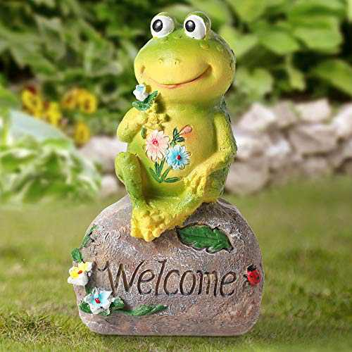 Gaidenly Frogs Garden Figurines Outdoor Decor, Garden Art for Outdoor Fall Winter Christmas Decorations for Patio, Lawn, Yard Art Decoration, Gardening Gifts for Women, Outdoor Party Decorations