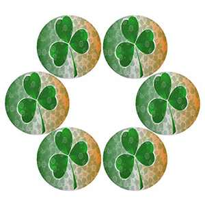 senya St Patrick's Day Clover Round Placemats Set of 6 for Dining Table Heat Insulation Non-Slip Washable Place mats