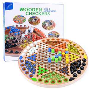 Chinese Checkers 6 in 1 Combo Game 13 inch Wooden Board Family Game for Kids and Adults Includes 90 Glass Marbles