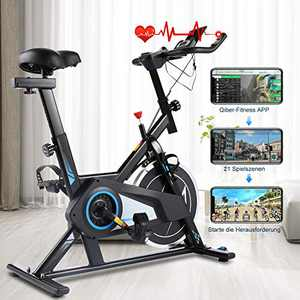 Stationary Exercise Bike, Indoor Cycling Bike Belt Drive with APP Connection, Adjustable Resistance, LCD Monitor, Pad/Phone Holder, Comfortable Cushion, Quiet for Home Gym Cardio Workout