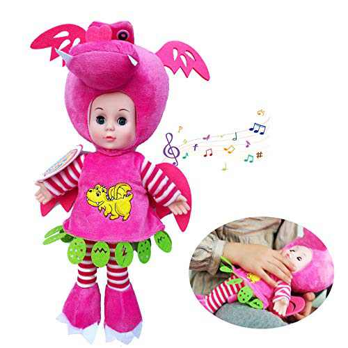Ralch Wysom [2021 New Version] Realistic Newborn Reborn Singing Baby Dolls,14 inch.Washable Baby Alive Doll,Cute Dinosaur Jumpsuit Clothes,Best Gift for Kids Girls