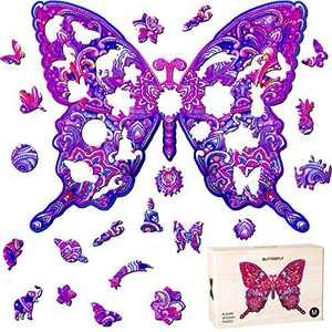 Wooden Jigsaw Puzzles Animal Shape Wood Puzzle for Adults Kids, Family Game Play Collection for Christmas Valentines Day 6.5 x 11.3 Inches (Butterfly)