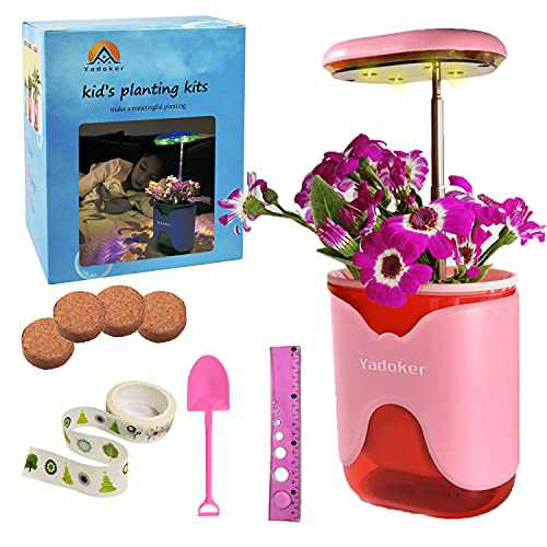 yadoker Mini Gardening Science Kits for Kids Age 5 6 7 8 9 10 Years Old Girls & Boys Planting Growing Kit with Growing Light, Gift for Children & Friends (Pink)