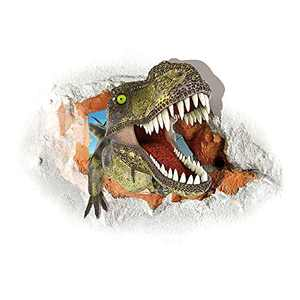 Supzone 3D Dinosaur Wall Sticker Dinosaur Head Wall Decals Vinyl Removable Wall Decor Watercolour Wall Decal Opening Mouth Dinosaurios Wall Art for Bedroom Playroom Living Room Wall Mural Sticker