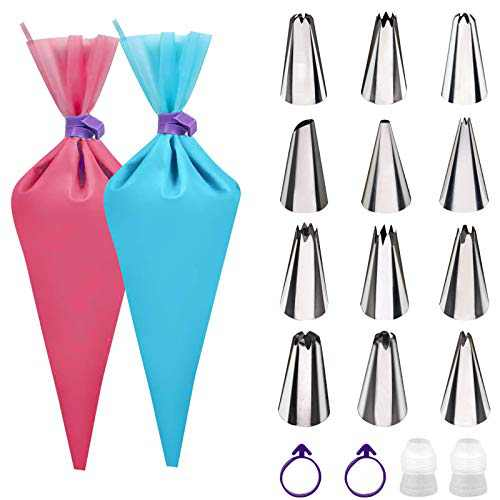 TEQIFU Piping Bags and Tips Sets, 2-Pack Food Grade Reusable Silicone Pastry Bags with 12-Pack Stainless Steel Icing Tips for Baking, Decorating Cake, Cookies, 2 Couplers & 2 Bag Ties Include