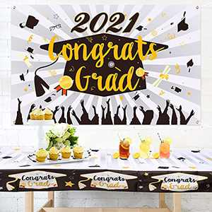 2021 Graduation Decorations - Graduation Banner & Graduation Tablecloth Large Fabric, Graduation Party Supplies 2021, Congrats Grad Party Decorations Table Decorations