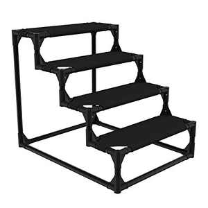 Veehoo Sturdy Pet Steps ¨C Pet Stairs for Small Dogs and Cats, Doggie, Puppy and Older Cats Step for High Bed Couch, Black