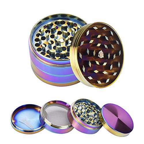 WEGRIND Herb Grinder, Spice Crusher, 2 inch 4 Pieces Metal Grinders with Pollen catcher, Platinum Grinders with Zinc Magnetic Lid, Grinds Herb and Dry Leaf (Rainbow)