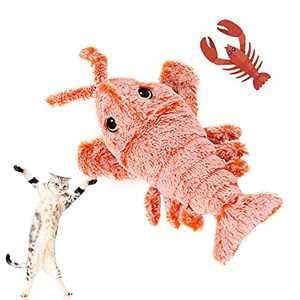 Ospetty Catnip Moving Lobster Cat Toy Electric Dancing Lobster Catnip Kicker Interactive Realistic Flopping Lobster Toy