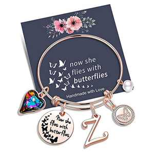 Yoosteel Memorial Jewelry Sympathy Gift, Rose Gold Butterfly Gifts Butterfly Bracelet Loss of a Mother Gift Sympathy Gifts Momerial Bracelet(Z)