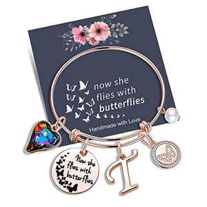 Yoosteel Memorial Jewelry Sympathy Gift, Rose Gold Butterfly Gifts Butterfly Bracelet Loss of a Mother Gift Sympathy Gifts Momerial Bracelet(T)