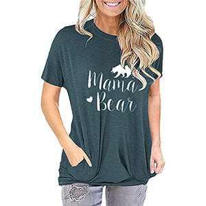TOPIA STAR 2021 Womens Crewneck Sweatshirts Color Block Short Sleeve T-Shirt Tunic Tops (Green - B, S, s)