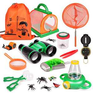 KIDCHEER Outdoor Explorer Kit & Bug Catcher Kit with Kids Binoculars, Compass, Whistle, Magnifying Glass, Flashlight and Backpack Great Toys Kids Gift for Boys & Girls Age 3-12 Year Old Camping Hiking