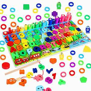 Max Fun Wooden Blocks Puzzles Toys Counting Shape Stacking Toy Sorter Wood Counting Blocks Games for Kids Preschool Learning Education Toys
