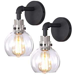 Hamilyeah Globe Sconces Wall Lighting, Brushed Nickel Wall Sconce with Glass Globe, Industrial Bathroom Light, Indoor Wall Sconces, Hardwired Wall Lamp for Bedroom,Living Room Set of Two,UL Listed