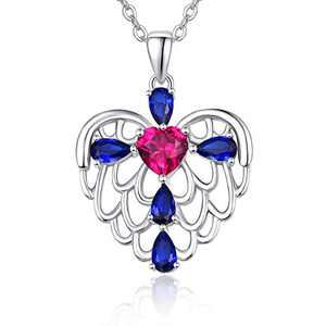 Cross Heart Necklace for Women,Angel Wing Charm Pendant Jewelry Cubic Zirconia 925 Sterling Silver Necklace Gifts for Girls 18k Gold Plated Valentine Mother Graduation Gift
