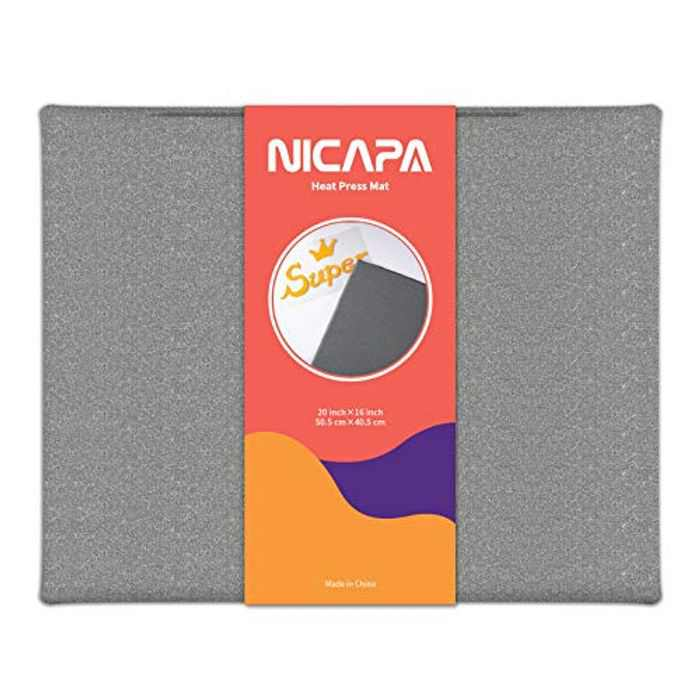 """NICAPA Heat Press Mat for Cricut Easy Press Heat-Resistant Protective Mat for HTV Iron On Project for Crafts Vinyl Ironing Insulation Transfer, [20.5cmX25.4cm, 8""""X10""""]"""