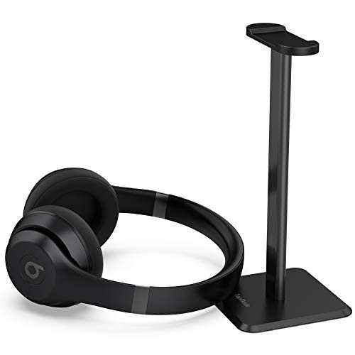 TopMade Headphone Stand Headset Holder Gaming Headset Stand with Aluminum Supporting Bar Flexible Headrest Anti-Slip Earphone Stand for All Headphones(Black)