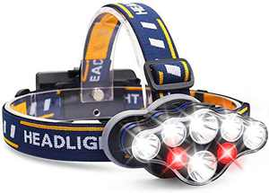 Headlamp, 1300 Lumen 8 LED Headlight with White Red Lights, USB Rechargeable Waterproof Head Lamp, 8 Modes Headlamp Flashlight for Outdoor Camping,Cycling,Fishing,Running