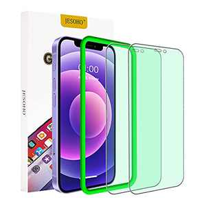 【Eye Protection】JESOHO Anti Blue Light Screen Protector for iPhone 12/iPhone 12 Pro, Strengthen Blue Light Filter Tempered Glass [9H Hardness] [Bubble Free] [Installation Frame] [2 Pack] (Green)