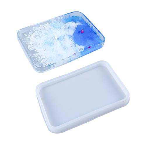 Yochus Silicone Resin Molds Rectangle Tray Molds Large Rolling Tray Molds with Edges for Epoxy Resin Jewelry Holder,Home Decoration Resin Art Molds