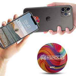 NFC Pop Tag Socket for All NFC-Enabled Cell Phone Devices: Adhesive Sticker for Business and Office - Contacts Card, Social Media, Information Sharing, Smart Home, and Contactless Payment Platform