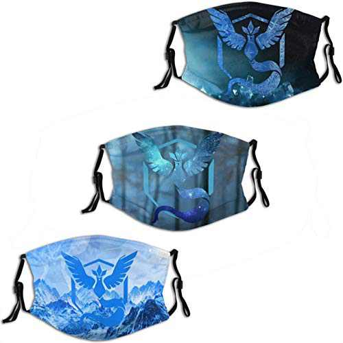 Po-ke-mon Go Team Mystic Anime Cosplay 3 Pack Face Mask With 6 Filter Reusable Washable Cover Bandana Breathable Balaclava Protection Shield for Men Womens Cartoons