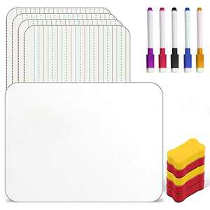 Dry Erase Board for Kids Homberry Small White Board Set of 5 A4 Size Double Sided Dry Erase Board Lined White Lap Board for Students with 5 Markers & Erases