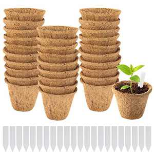 "30 Pack Thickened Coco Coir Planter Nursery Pots- 3"" Biodegradable Seedling Germination Pot with Bonus 100 Plant Markers Eco-Friendly Plantable Seedlings Pots for Garden Plants Sprouting Transplanting"