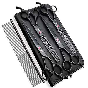4CR Stainless Steel 7.0 inches Dog Grooming Scissors Set with Safety Round Tip, Professional Heavy Duty Titanium Coated Pet Grooming Trimmer Kit for Dogs and Cats