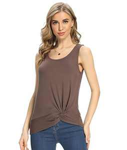 ANYFIT WEAR Women Twist Front Top Tunic Loose Fit Top Summer Sleeveless Tank Tops(Coffee S)