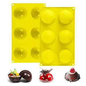 2Packs Large 6-Cavity Semi Sphere Silicone Mold, Hot Chocolate Bomb Mold, Cake Mold, DIY baking tools, Silicone Baking Mould For Making Hot Chocolate Bomb, Pudding, Dome Mousse, Handmade Soap (Yellow)