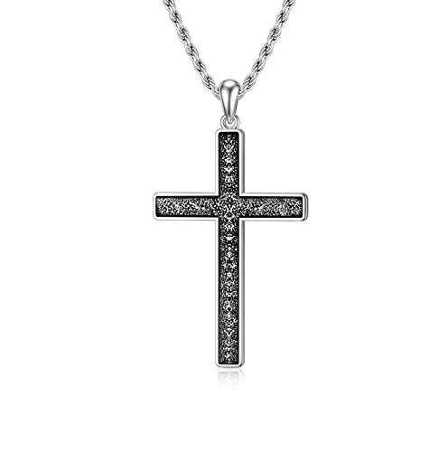 "PDTJMTG Cross Necklace Men Oxidized Sterling Silver Cross Necklace, 20""+2"""
