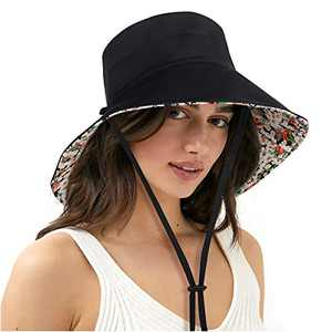 FEMSÉE Bucket Hat - Sun Hats for Women Men Teens Girls Wide Brim UPF 50+ UV Floppy Packable Summer Beach Fisherman's Caps (Black)