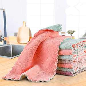 KENAST 12 Pack Kitchen Cloth Dish Towels, Cleaning Cloths, Premium Dishcloths, Super Absorbent Coral Velvet Dishtowels, Household Cleaning Cloths, Nonstick Oil Washable Fast Drying