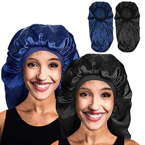 LIIBOT Long Sleep Cap for Women 2 Pack Large Soft Elastic Band Satin Bonnet for Braids Dreadlocks Curly Hair (Black & Navy Blue)