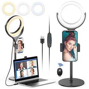 "8"" Ring Light with Stand and Phone Holder - Laptop Selfie Video Conference Desk Light Remote Shutter, Zoom Meeting Light USB Powered, 3 Color 10 Adjustable Brightness Desktop TikTok Makeup Broadcast"