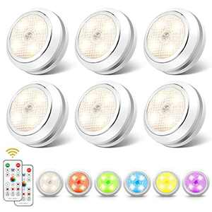 Under Cabinet Lights SOLMORE 6 Pcs LED Cupboard Lighting RGB White Light Battery Powered with 16 Static Colors and Timer Setting for Kitchen Closet Counter Wall Indoor with Touch and Remote Control