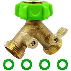 YANWOO Garden Hose Splitter 2 Way, Heavy Duty Brass Connector Tap Adapter Splitter, Y Vavle Water Splitter with Solid Brass Handle (Brass)