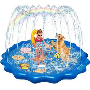 QDH Splash Pad Sprinklers for Kids Dogs 68'' Splash Play Mat Summer Outdoor Water Toys for Toddlers Baby Wading Pools Outside Backyard Kids Sprinkler for 1-12 Years Old Children Boys Girls