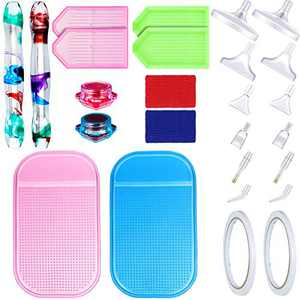 5D Diamond Painting Tools Include 2 Resin Diamond Painting Drill Pens, 2 Glue Clay, 4 Diamond Trays, 2 Anti-Slip Mats, 2 Finger Protectors, 12 Pen Head and 2 Tapes for DIY Diamond Painting, 26 Pieces