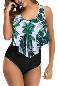 Womens Swimsuits Two Piece Bathing Suits Flounce Top with High Waisted Bottom Bikini Set Tankini