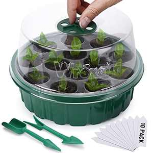 Wrexat 10-Pack Round Seed Starter Tray, Humidity Adjustable Plant Starter Kit with Dome and Base Greenhouse Planting Mini Propagator for Seed Growth Start (13 Cells per Tray)