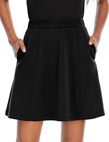 Homrain Black Skirt Skater Basic Stretchy Casual Fall Mini Skirts for Women with Pockets Black L-2