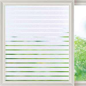 Viseeko Privacy Window Film Frosted Static Cling Glass Film Decorative Frosted Stripe Patterns Non-Adhesive for Home Office Kids Study Meeting Room Decor(17.5 x 157.5Inches)