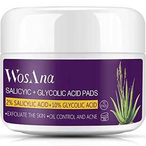 Glycolic-Acid Salicylic-Acid Acne Peel Pads: 10% Glycolic Acid + 2% Salicylic Acid Skin Resurfacing Pads, Glycolic Peel for Face Body Acne, Blackhead, Pore, Anti-Aging, WosAna Face Exfoliator Wipes