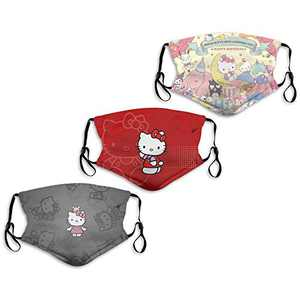Hello Kitty Cartoon Cute 45th Anniversary Sanrio Characters Face Mask 3PC with 6 Filters Washable Men's Women's Adjustable Made in USA Mouth Cover Reusable