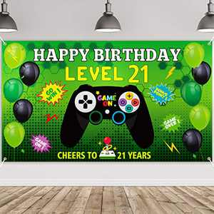 PANTIDE Level 21 Video Game Happy Birthday Backdrop Banner- Level Up Birthday Party Decorations Supplies, Game Controller Balloon Banner Background, Game On Party Large Poster Accessory (6.5 x 3.8ft)