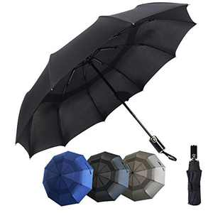 Double Vented Windproof Travel Umbrella - Compact, Folding Umbrella - Automatic Open & Close Button - Portable, Lightweight Outdoor & Golf Rain Umbrellas, UV Protection