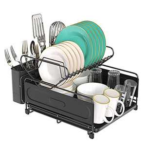 CHEF EVER Kitchen Dish Drying Rack, 2 Tier Dish Drainer Rack 304 Stainless Steel Dish Rack and Drainboard Set with Utensil/Cup Holder for Small Kitchen